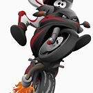Sportbike motorcycle with a funny biker popping a wheelie cartoon illustration by hobrath