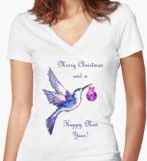 Christmas Bird Fitted V-Neck T-Shirt
