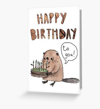Happy birthday beaver cake Greeting Card