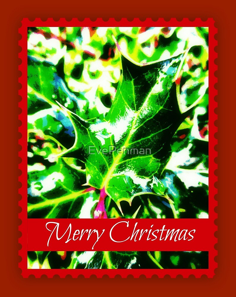 Merry Christmas Holly Plant by EvePenman