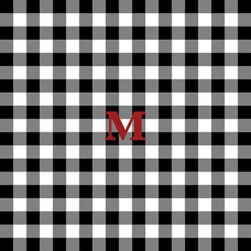 Black and White Buffalo Plaid Letter M Monogram by KokoloHG
