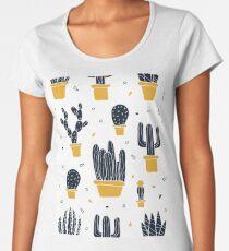 Modern Cactus Pattern (Yellow) Women's Premium T-Shirt