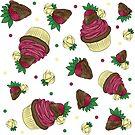 Strawberry Cupcake Pattern by SonneFaunArt