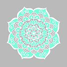 Turquoise and Grey Mandala by julieerindesign