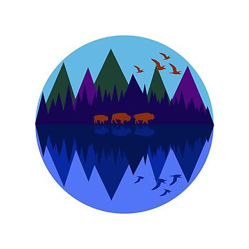 Three Bison Blue Moon by rontrickett