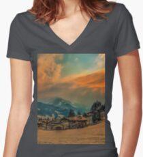 a stunning Austria landscape Women's Fitted V-Neck T-Shirt