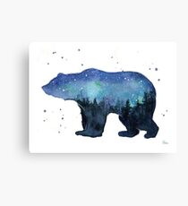 Forest Bear Watercolor Silhouette Canvas Print
