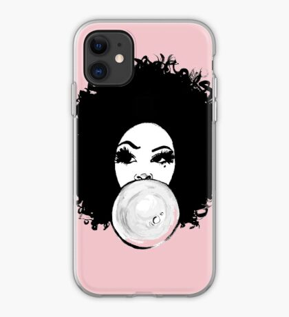 Curly Afro Pretty Girl Black Hair Bubble Gum Poppin T-Shirt Tees iPhone Case