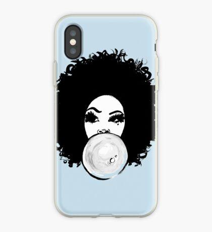 Gelocktes Afro-hübsches Mädchen-Kaugummi Poppin Natural Hair Art iPhone-Hülle & Cover