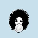 Curly Afro  Pretty Girl Bubble Gum Poppin Natural Hair Art by EllenDaisyShop