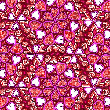 Love Hearts Doodle - Pink and Red by Gravityx9