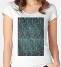 Black and turquise pattern Women's Fitted Scoop T-Shirt