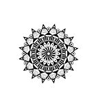 Flower Mandala Black and White by BlueWaffleClth