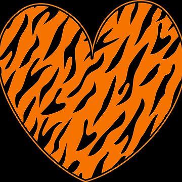 Comic Tiger Heart Graphic Print by xsylx