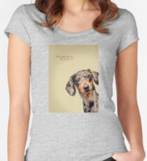 Curious and Cute Dachshund Women's Fitted Scoop T-Shirt