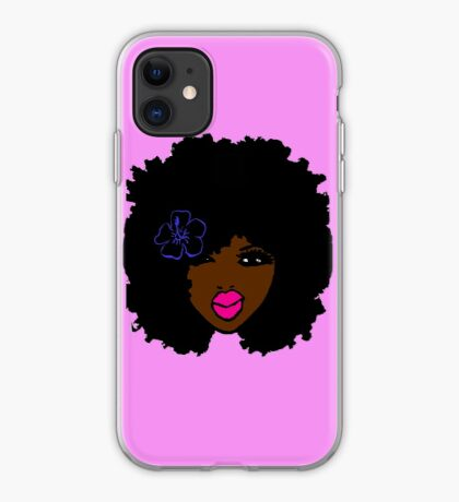 Brown Skin Afro Curly Natural Hair Flower Girl Pink Lipstick iPhone Case