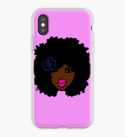 Brauner Haut-Afro-gelockter natürlicher Haar-Blumen-Mädchen-Rosa-Lippenstift iPhone-Hülle & Cover