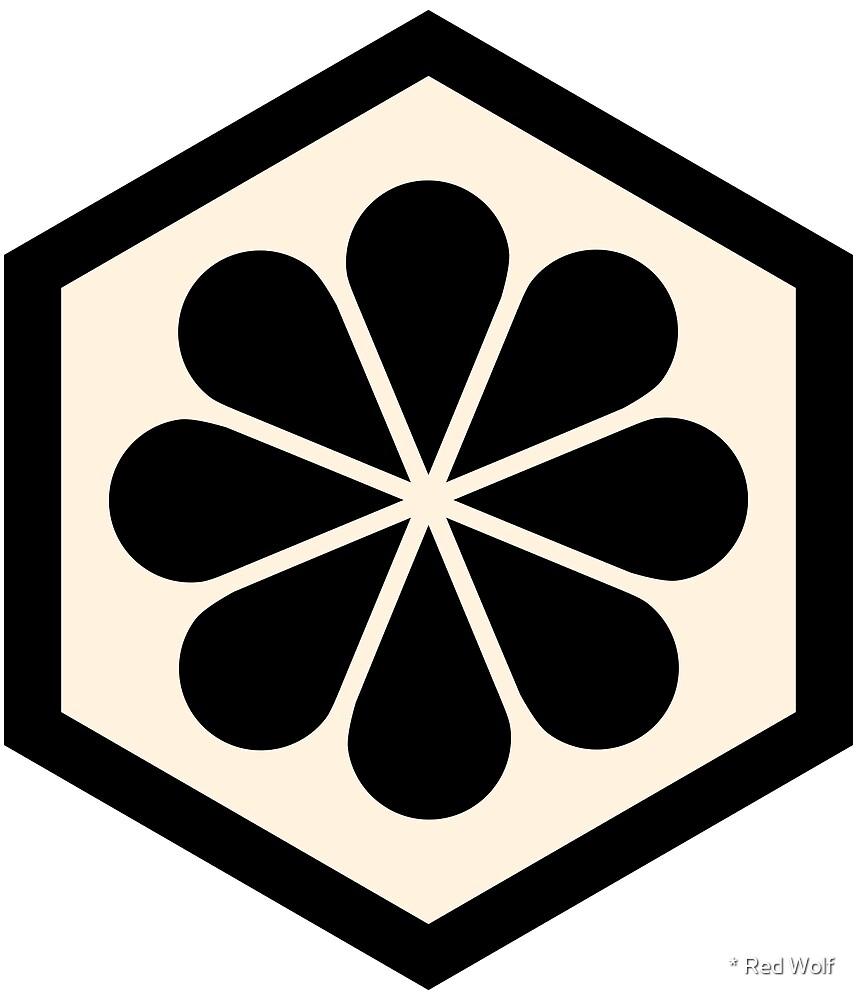 Geometric Pattern: Hexagon Flower: Black/Cream by * Red Wolf