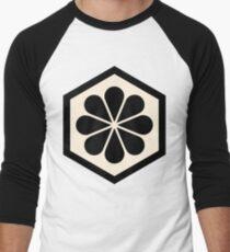 Geometric Pattern: Hexagon Flower: Black/Cream Men's Baseball ¾ T-Shirt