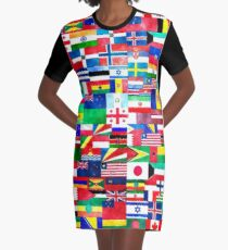 International Flags Collage Graphic T-Shirt Dress