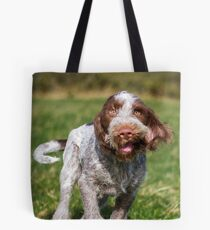 Brown Roan Italian Spinone Puppy Dog In Action Tote Bag