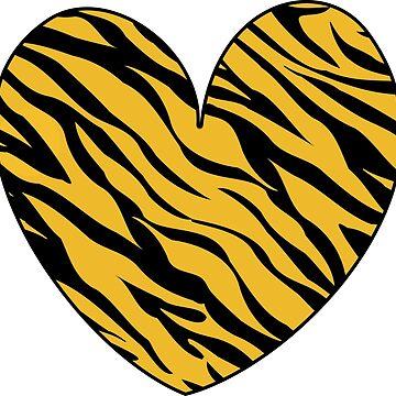 Tiger Heart Zebra Print Graphic Love Gift Idea by xsylx