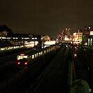 Train through City at Night - Tokyo, Japan by IkuTree