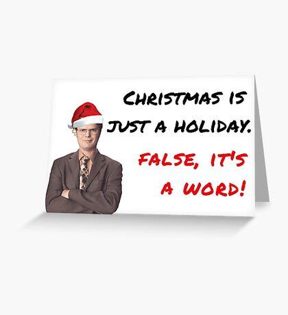La tarjeta de Navidad Dwight Schrute, la tarjeta de Navidad Office Show, tarjeta de Navidad divertida, temblaba, la Navidad es solo un día festivo. Falso, es una palabra. Tarjetas de felicitación meme. Tarjeta de felicitación