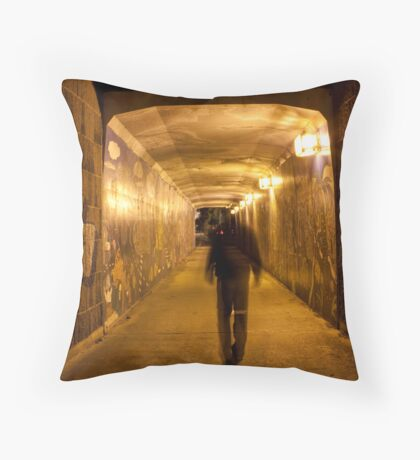 Entering pedestrian tunnel Throw Pillow
