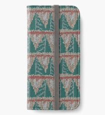 Knitted canvas with a festive pattern ornament. iPhone Wallet/Case/Skin