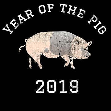 Year of the Pig 2019 New Year Vintage by FairOaksDesigns