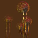 Modern Abstract Autumn Flower Trees by Van Nhan Ngo