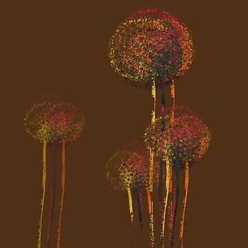 Modern Abstract Autumn Flower Trees by enhan