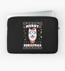 Husky Ugly Christmas Sweater Merry Xmas Funny Dog Lover Laptop Sleeve