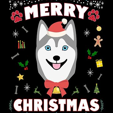Husky Ugly Christmas Sweater Merry Xmas Funny Dog Lover by JapaneseInkArt