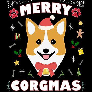 Corgi Ugly Christmas Sweater Merry Corgmas Funny Dog Lover by JapaneseInkArt