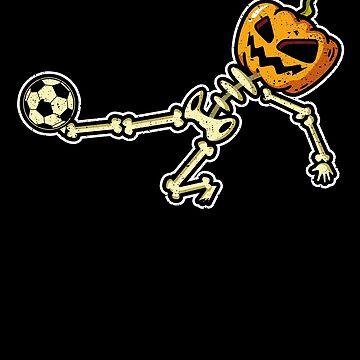 Soccer Skeleton Pumpkin Head Halloween Costume Party by kieranight
