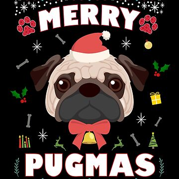Pug Ugly Christmas Sweater Merry Pugmas Funny Dog Lover by JapaneseInkArt