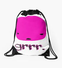 Angry Pink Blobby Head Drawstring Bag