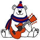 Funny Polar Bear Playing Guitar Cartoon by naturesfancy