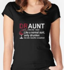 Womens Funny Drunk Aunt Definition DRAUNT T-shirt For Auntie Women's Fitted Scoop T-Shirt