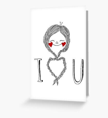 I heart you braids Greeting Card