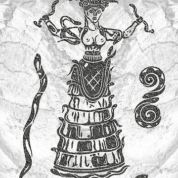 Göttin der Schlangen mit Katze.  von ChristineKrahl
