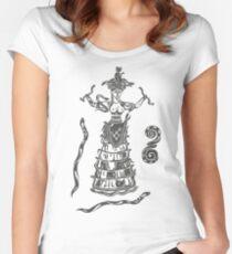 Göttin der Schlangen mit Katze.  Tailliertes Rundhals-Shirt