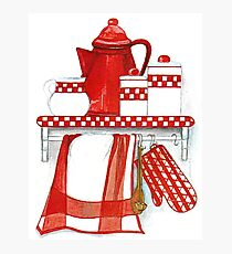 COUNTRY STYLE KITCHEN STILL LIFE IN RED AND WHITE and checkered patterns Photographic Print