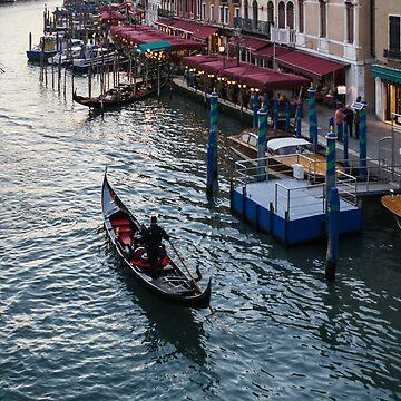 Venice, Italy - a Graceful Venetian Gondola on the Grand Canal by GeorgiaM