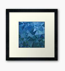 Blue Polygonal Background. Rumpled Triangular Pattern Framed Print