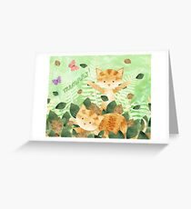 Foliage frolics - cats in leaves. Greeting Card