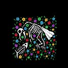 Bird and Fish Skeletons on Bed of Flowers by melasdesign