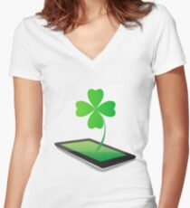 Four- leaf clover - Irish shamrock St Patrick s Day symbol. Green glass clover on white background Women's Fitted V-Neck T-Shirt